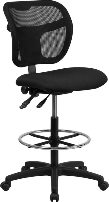 Mid-Back Mesh Drafting Stool with Black Fabric Seat , #FF-0527-14