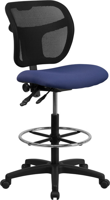 Mid-Back Mesh Drafting Stool with Navy Blue Fabric Seat , #FF-0528-14