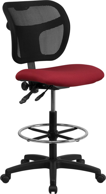 Mid-Back Mesh Drafting Stool with Burgundy Fabric Seat , #FF-0529-14