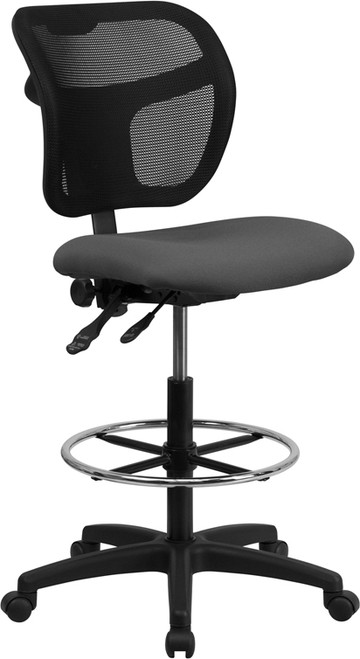Mid-Back Mesh Drafting Stool with Gray Fabric Seat , #FF-0530-14