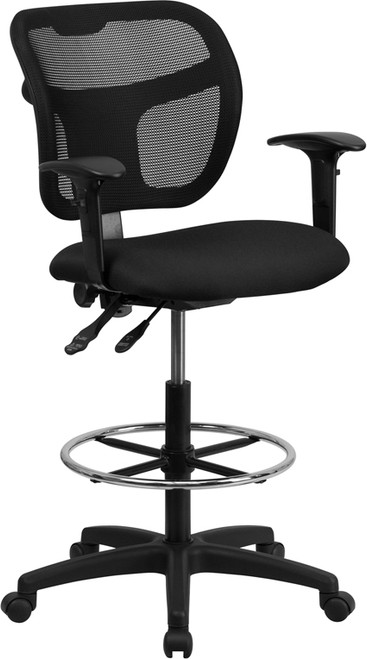 Mid-Back Mesh Drafting Stool with Black Fabric Seat and Arms , #FF-0531-14