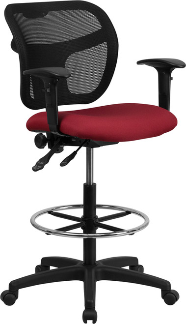 Mid-Back Mesh Drafting Stool with Burgundy Fabric Seat and Arms , #FF-0533-14