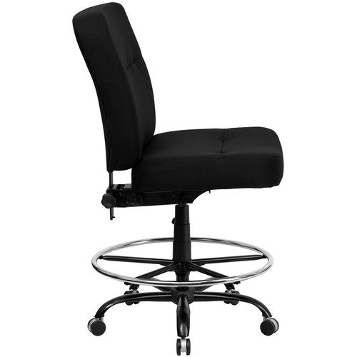 Big & Tall 400 lb. Capacity Big & Tall Black Fabric Drafting Stool with Extra WIDE Seat , #FF-0309-14