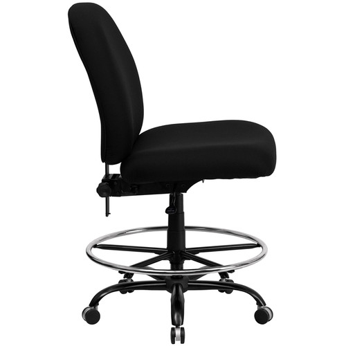 Big & Tall 400 lb. Capacity Big and Tall Black Fabric Drafting Stool with Extra WIDE Seat , #FF-0313-14
