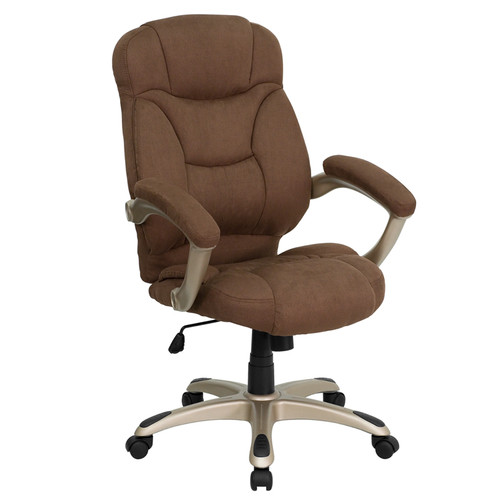 High Back Brown Microfiber Upholstered Contemporary Office Chair , #FF-0278-14