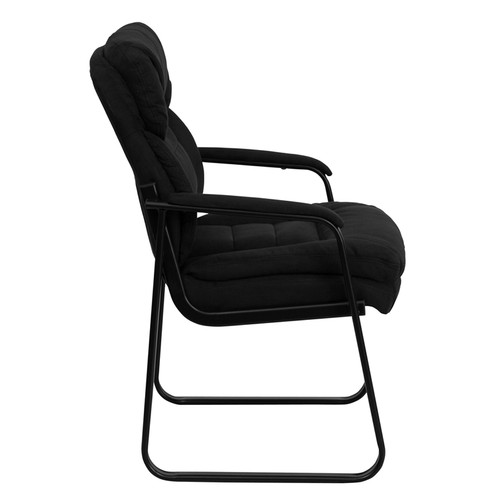 Black Microfiber Executive Side Chair with Sled Base , #FF-0461-14