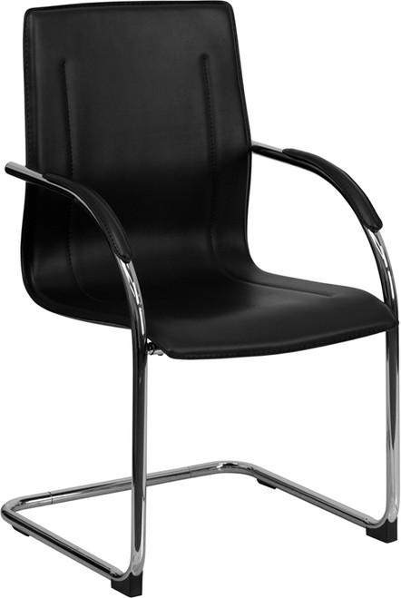 Black Vinyl Side Chair with Chrome Sled Base , #FF-0464-14