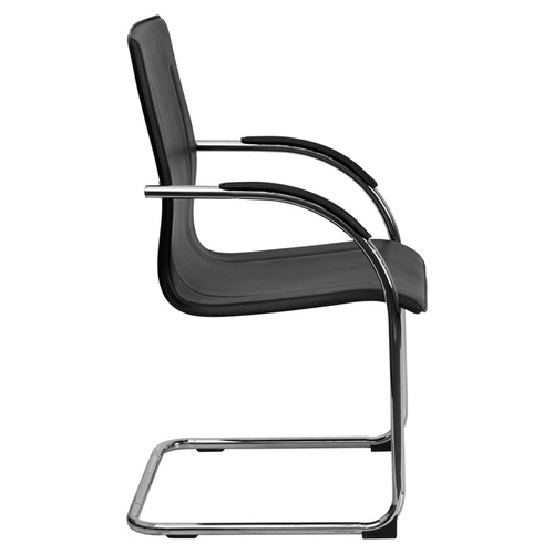 Black Vinyl Side Chair with Chrome Sled Base , #FF-0464-14