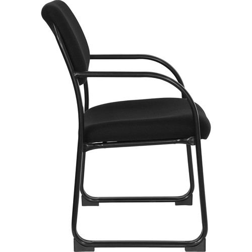 Black Fabric Executive Side Chair with Sled Base , #FF-0465-14
