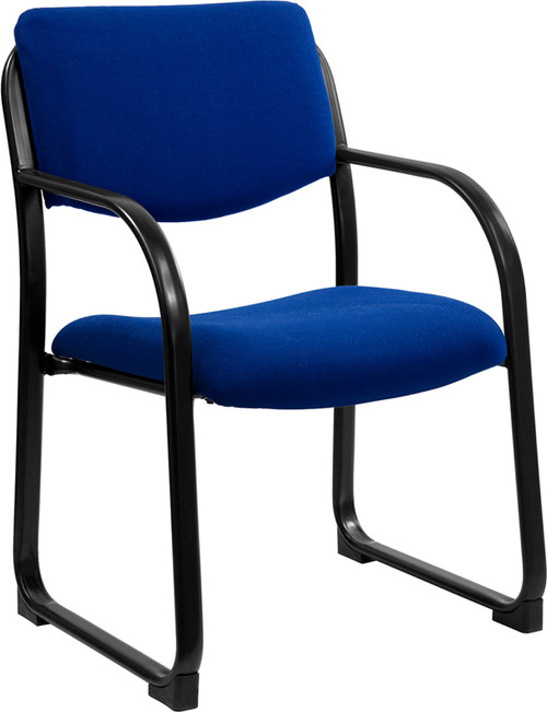 Navy Fabric Executive Side Chair with Sled Base , #FF-0467-14