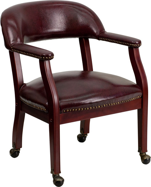 Oxblood Vinyl Luxurious Conference Chair with Casters , #FF-0473-14