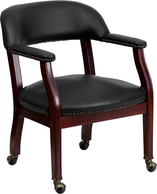 Black Vinyl Luxurious Conference Chair with Casters , #FF-0474-14
