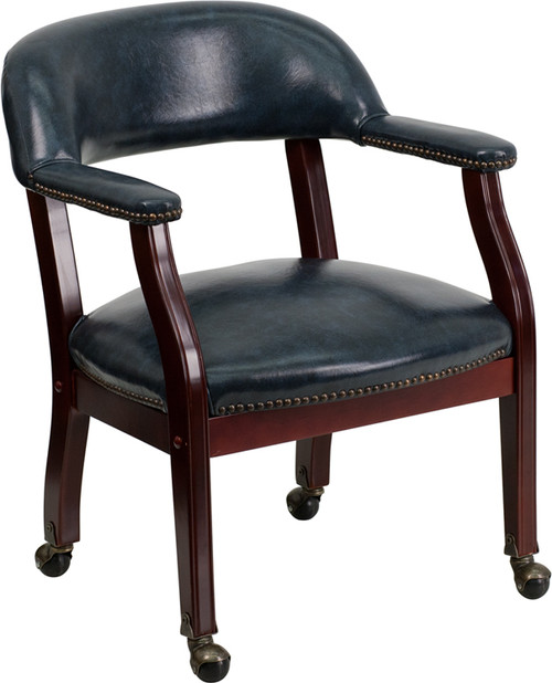 Navy Vinyl Luxurious Conference Chair with Casters , #FF-0475-14