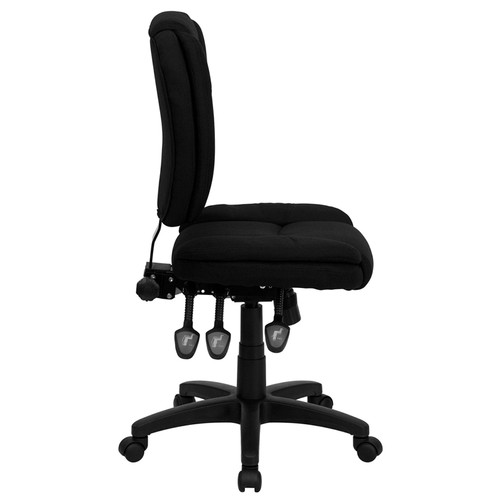 Mid-Back Black Fabric Multi-Functional Ergonomic Task Chair , #FF-0334-14