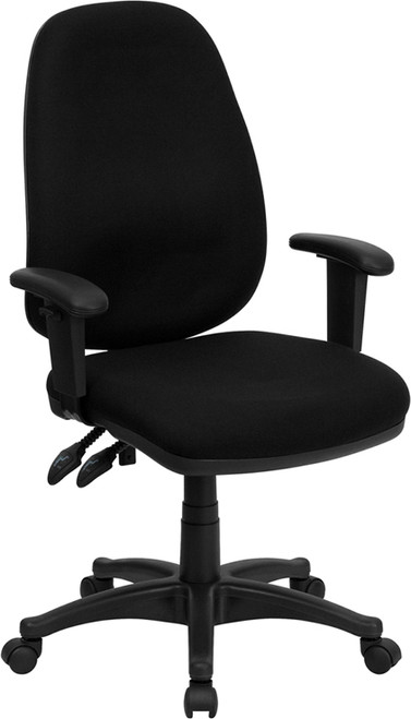 High Back Black Fabric Ergonomic Computer Chair with Height Adjustable Arms , #FF-0354-14