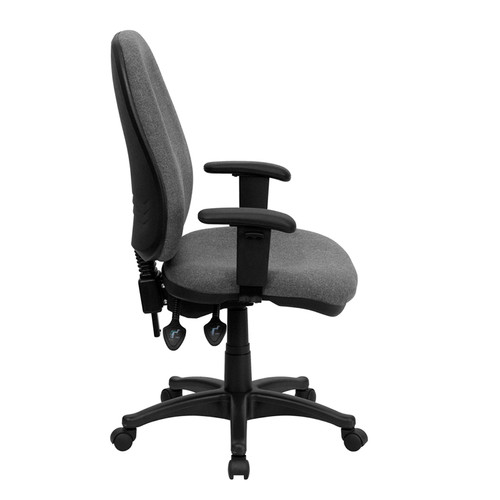 High Back Gray Fabric Ergonomic Computer Chair with Height Adjustable Arms , #FF-0355-14