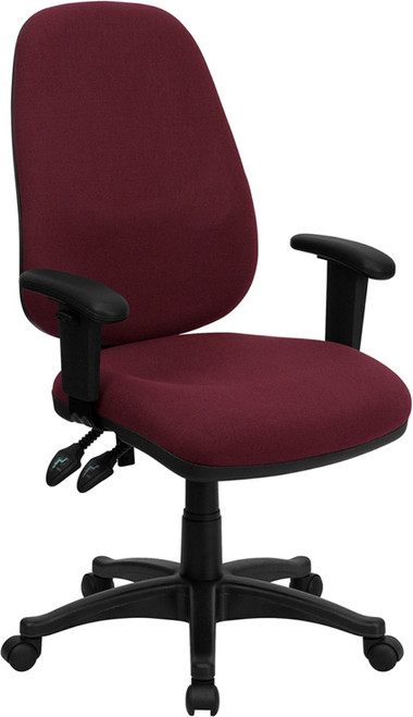 High Back Burgundy Fabric Ergonomic Computer Chair with Height Adjustable Arms , #FF-0356-14