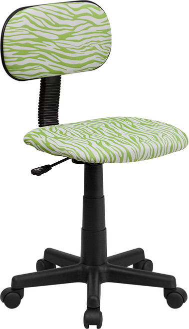 Green and White Zebra Print Computer Chair , #FF-0385-14