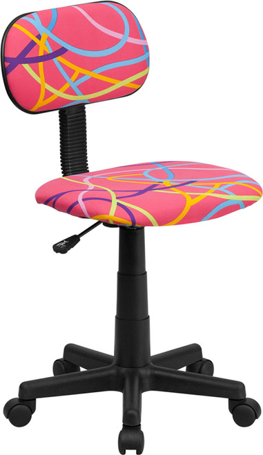 Multi-Colored Swirl Printed Pink Computer Chair , #FF-0391-14