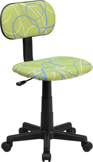 Blue & White Swirl Printed Green Computer Chair , #FF-0393-14