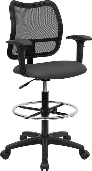 Mid-Back Mesh Drafting Stool with Gray Fabric Seat and Arms , #FF-0526-14
