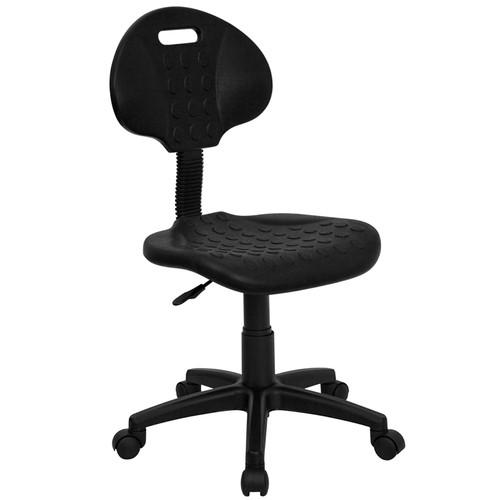''Tuff Butt'' Soft Black Polypropylene Utility Task Chair , #FF-0333-14