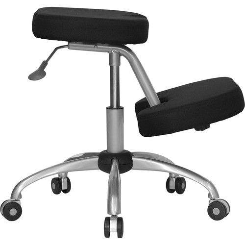 Mobile Ergonomic Kneeling Chair in Black Fabric with Silver Powder Coated Frame , #FF-0431-14