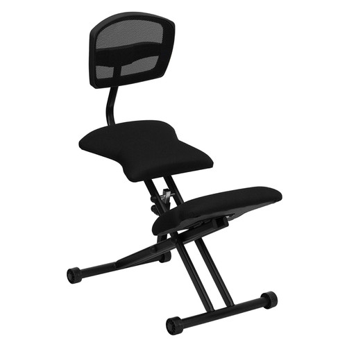 Ergonomic Kneeling Chair with Black Mesh Back and Fabric Seat , #FF-0436-14