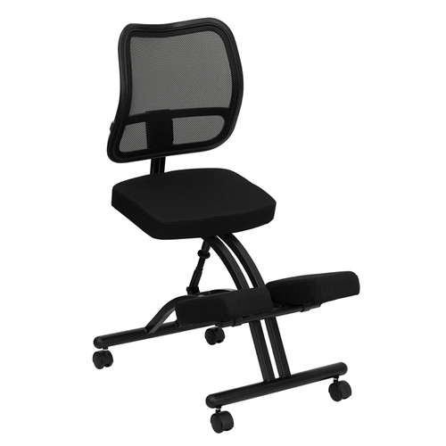 Mobile Ergonomic Kneeling Chair with Black Curved Mesh Back and Fabric Seat , #FF-0438-14