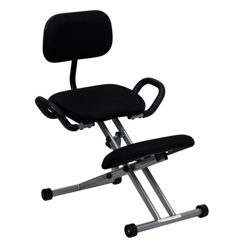 Ergonomic Kneeling Chair in Black Fabric with Back and Handles , #FF-0441-14