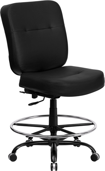 Big & Tall 400 lb. Capacity Big & Tall Black Leather Drafting Stool with Extra WIDE Seat , #FF-0311-14
