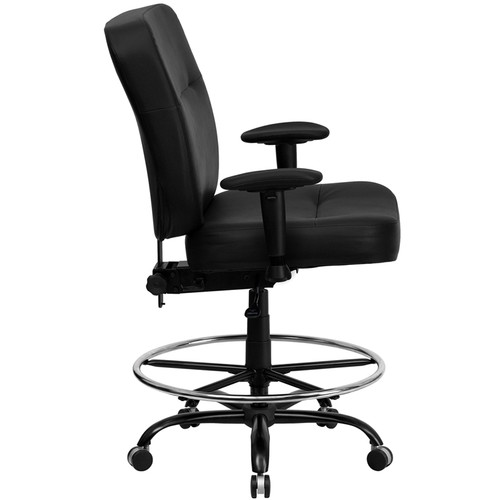 Big & Tall 400 lb. Capacity Big & Tall Black Leather Drafting Stool with Arms and Extra WIDE Seat , #FF-0312-14