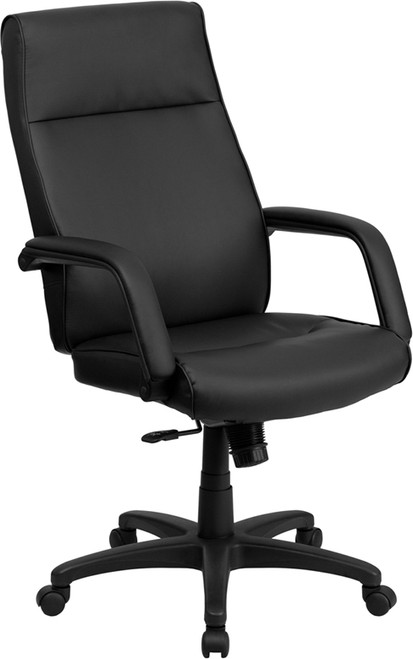 High Back Black Leather Executive Office Chair with Memory Foam Padding , #FF-0158-14