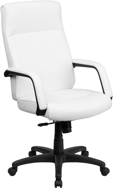 High Back White Leather Executive Office Chair with Memory Foam Padding , #FF-0159-14