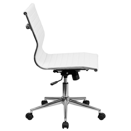 Mid-Back Armless White Ribbed Upholstered Leather Conference Chair , #FF-0165-14