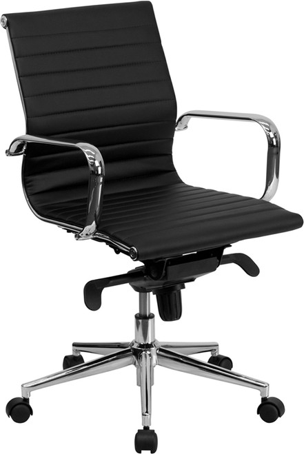 Mid-Back Black Ribbed Upholstered Leather Conference Chair , #FF-0167-14
