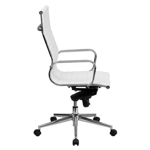 High Back White Ribbed Upholstered Leather Executive Office Chair , #FF-0168-14