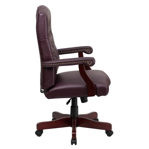 Martha Washington Burgundy Leather Executive Swivel Chair , #FF-0223-14
