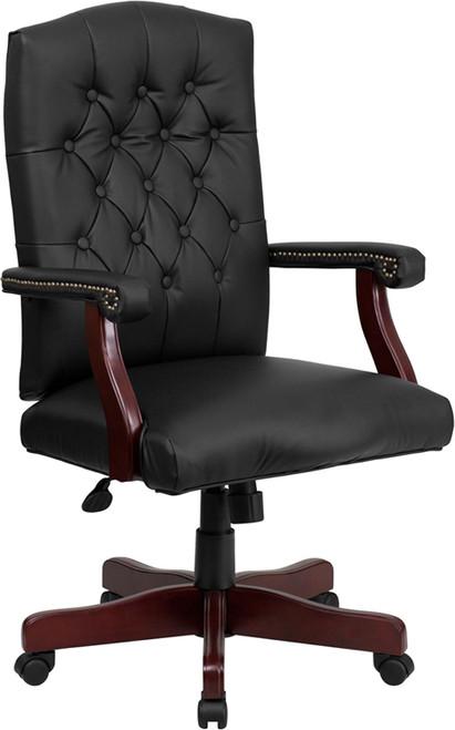 Martha Washington Black Leather Executive Swivel Chair , #FF-0224-14