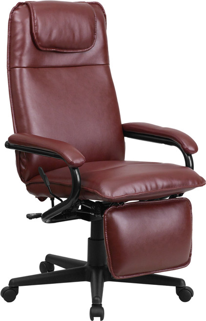 High Back Burgundy Leather Executive Reclining Office Chair , #FF-0227-14