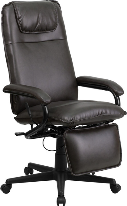 High Back Brown Leather Executive Reclining Office Chair , #FF-0228-14
