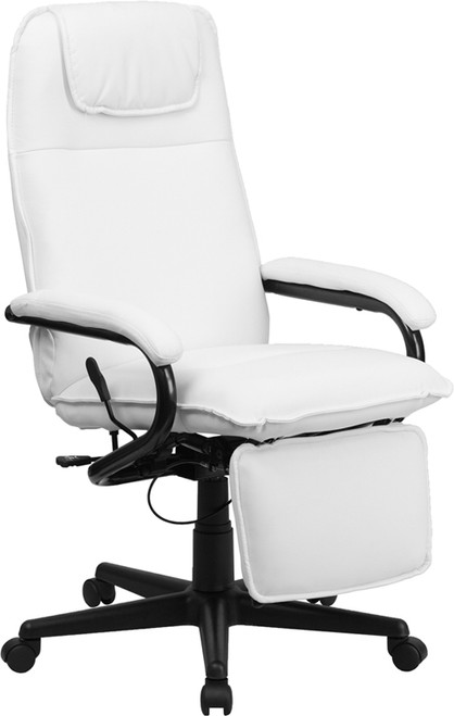 High Back White Leather Executive Reclining Office Chair , #FF-0229-14