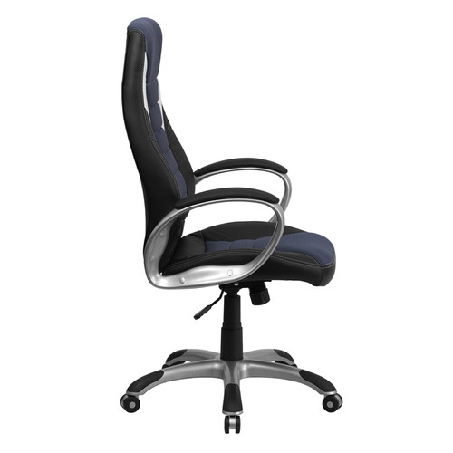 High Back Black Vinyl Executive Office Chair with Blue Mesh Inserts , #FF-0273-14