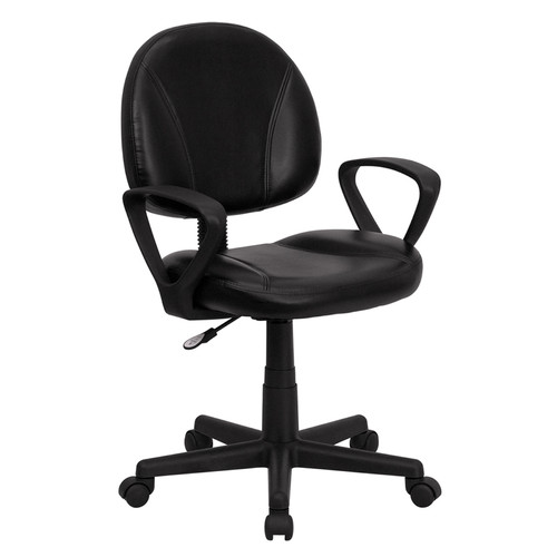 Mid-Back Black Leather Ergonomic Task Chair with Arms , #FF-0320-14