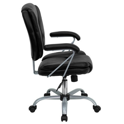 Mid-Back Black Leather Task and Computer Chair , #FF-0326-14