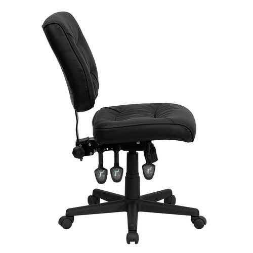 Mid-Back Black Leather Multi-Functional Task Chair , #FF-0329-14