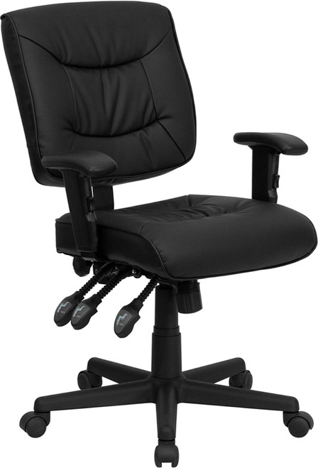 Mid-Back Black Leather Multi-Functional Task Chair with Height Adjustable Arms , #FF-0330-14