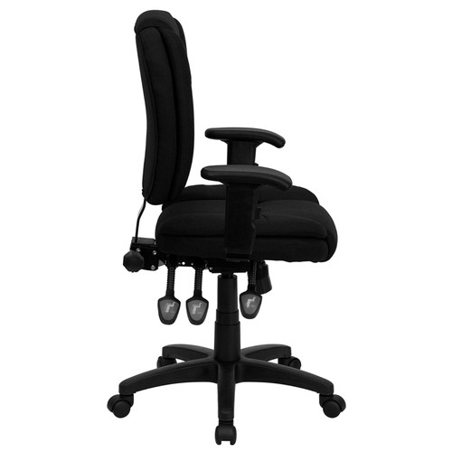 Mid-Back Black Fabric Multi-Functional Ergonomic Task Chair with Arms , #FF-0335-14