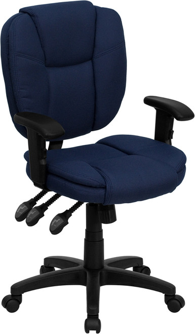 Mid-Back Navy Blue Fabric Multi-Functional Ergonomic Task Chair with Arms , #FF-0337-14