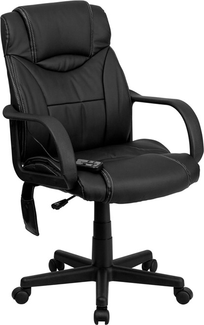 High Back Massaging Black Leather Executive Office Chair , #FF-0231-14